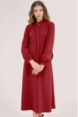 CLOSET Red D-Ring Collar A-Line Dress