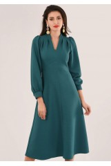 CLOSET Green  V-Neck Puff Sleeve Dress