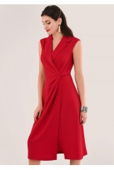 CLOSET Red Wrap Dress With Lapel