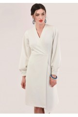 CLOSET Ivory Long Sleeve Wrap Dress