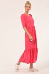 CLOSET Pink Gathered Puff Sleeve Dress