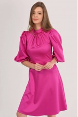 CLOSET Pink High Neck Puff Sleeve Dress