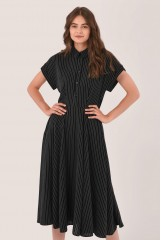 CLOSET Black High-Low Pleated Dress
