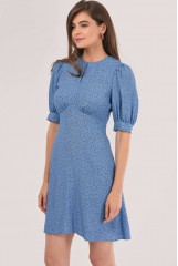 CLOSET Blue Puff Sleeve A-line Dress
