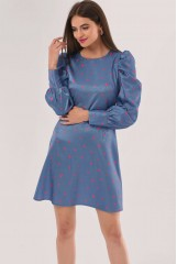 CLOSET Blue Puff Sleeve Mini Dress