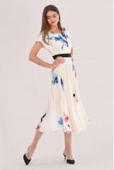 CLOSET Ivory 2-In-1 Pleated Midi Dress