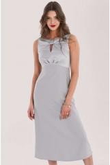 CLOSET Silver Bow Detail A-Line Dress