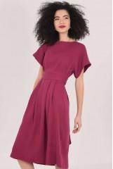 CLOSET Purple Kimono Pleated A Line Dress