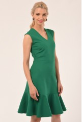 CLOSET Green V-Neck Peplum Dress
