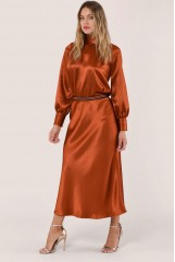 CLOSET Rust Bias Cut Midi Skirt