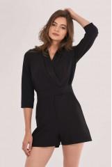 CLOSET Black Tuxedo Collar Playsuit