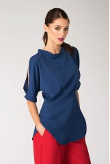 CLOSET Blue Cold Shoulder Blouse