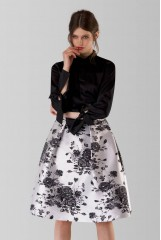 CLOSET Mono Floral Pleated Midi Skirt