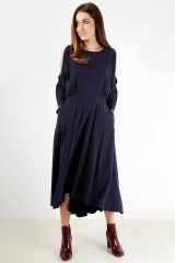 CLOSET Navy Plain High Low Dress