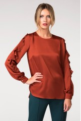 CLOSET Orange Frill Sleeve Blouse