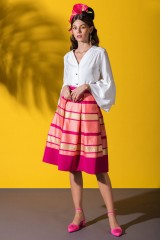 CLOSET Pink Striped Hem Pleated Skirt