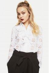 CLOSET White Lace Ruffle Front Shirt