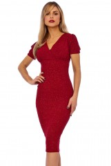 Red V Wrap Short Sleeve Dress