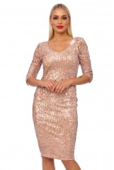 Oyster Sequin V Neck Midi Dress