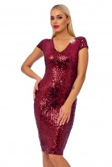 Wine Sequin Detail Bodycon Midi Dress