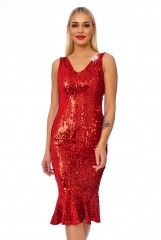 Red Sequin Detail Bodycon Midi Dress