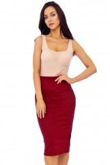 Wine Scuba Pencil Midi Skirt