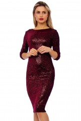 Claret Velour Sequin Embellished Midi Dress