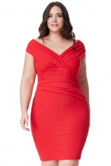 Red Bardot Pleat Midi Dress