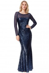 Navy Sheer Diamond Design Sequin Maxi Dress