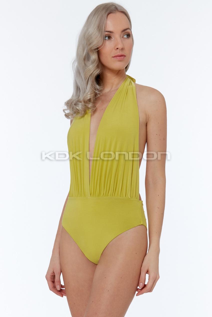 ef5a9d4f623 Lime Deep Plunge Halter Neck Swimsuit