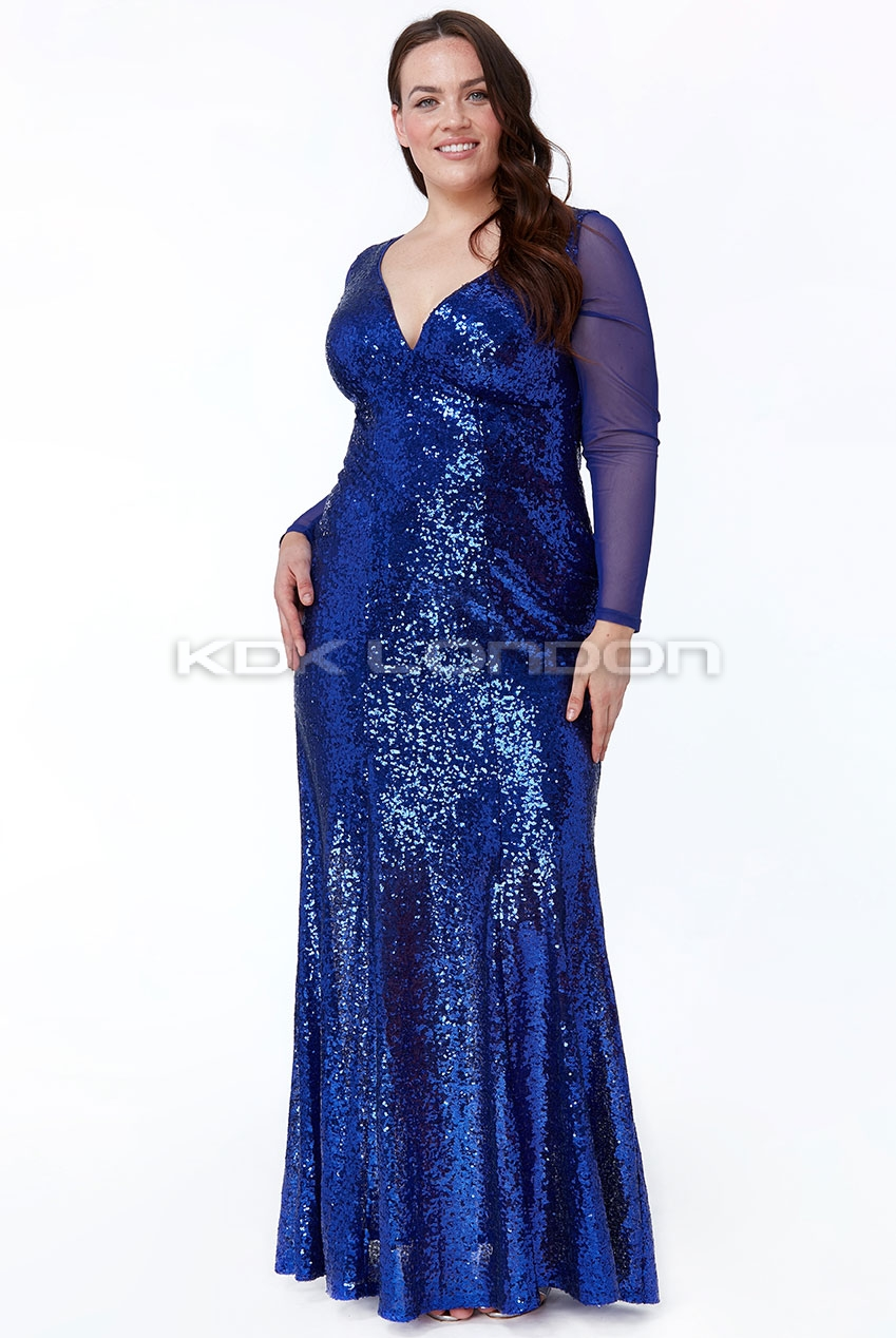 PLUS SIZE Royal V Neck Sequin Maxi Dress